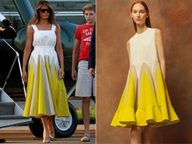 Delpozo NWT Yellow Tan Color Block Panels Architecture Flared Poplin Dress 34