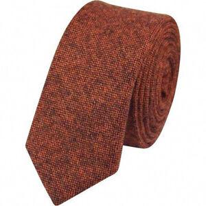UK. Nouveau Rusty Brown//Orange Brûlé Skinny tweed laine Cravate /& Mouchoir De Poche Ensemble