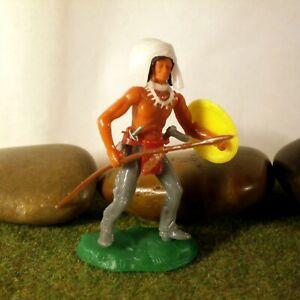 Original-Hausser-Elastolin-5-6cm-Steckfigur-beweglich-Indianer-Haeuptling