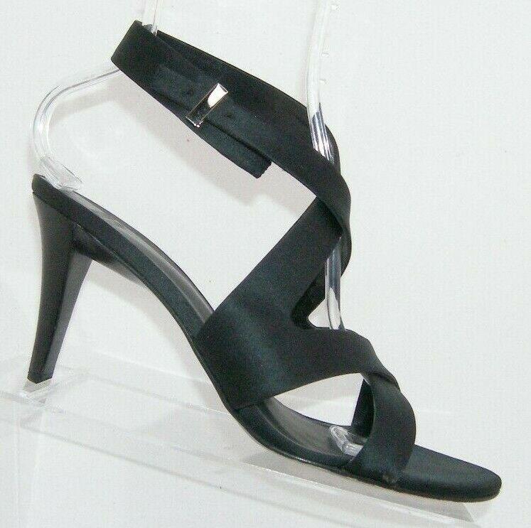 Arturo Chiang Mandy black satin cross strap buckle slingback heels 9.5M 7611