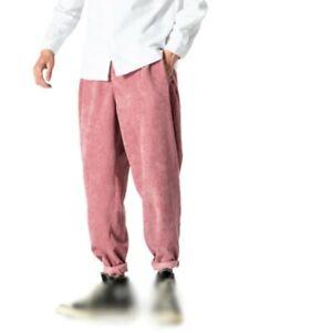 Para Hombre Pantalones Deportivos Pantalones Sueltos En Pana Recto Pantalones Estilo Japones Ocio D Ebay