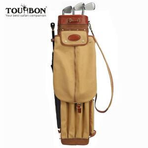 Tourbon-Vintage-Golftaschen-Leder-Canvas-Tragebag-zum-Golfschlaeger-Set-Geschenk