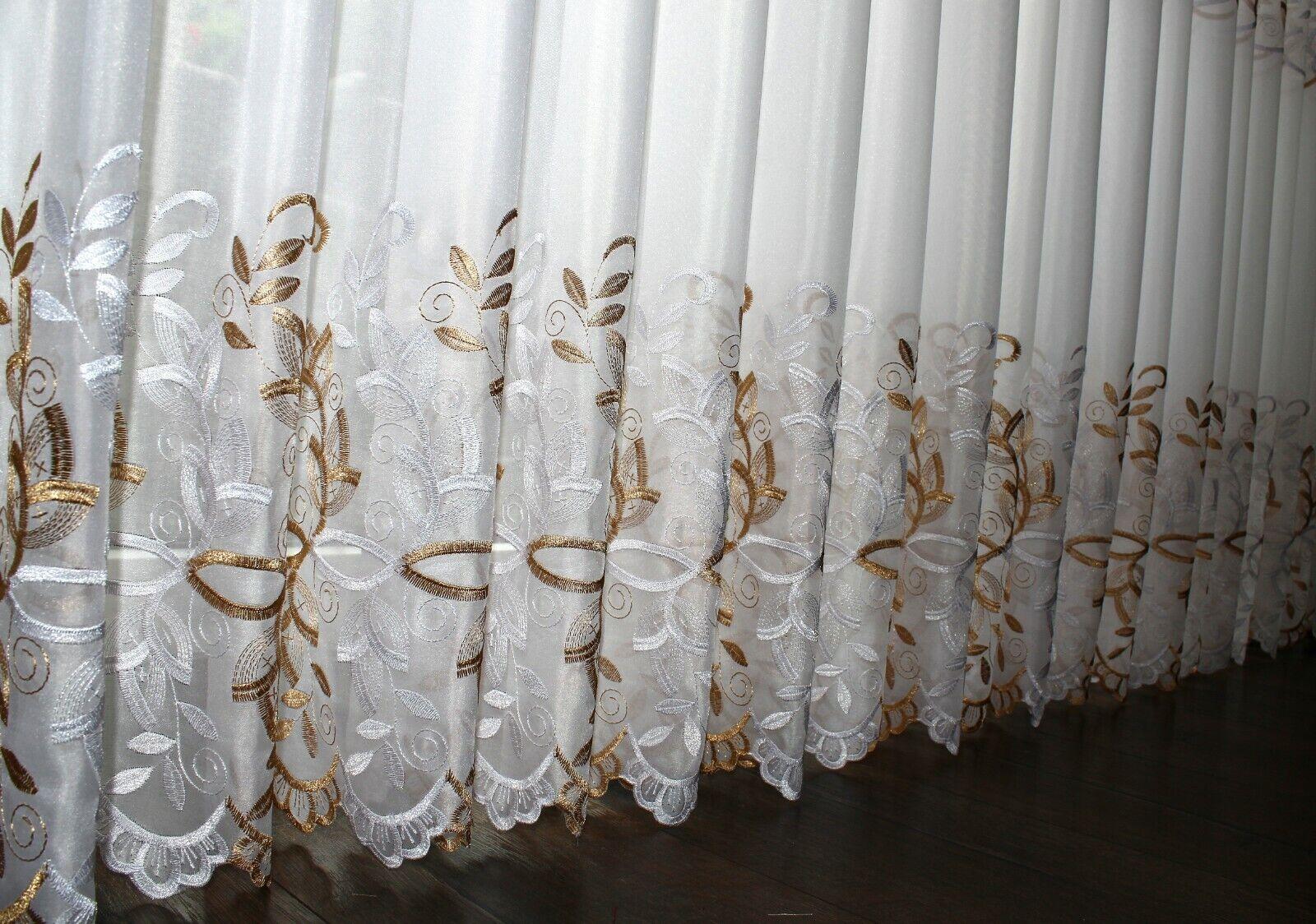 Vorhang Marquisette Stoff Hochwertiger Gardinen Meterware NEU Weiß // Gold