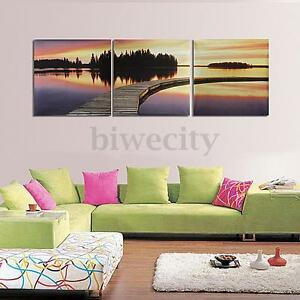3Pcs-Canvas-Painting-HD-Bridge-Lake-Dusk-Picture-Modern-Wall-Art-Decor-Unframed