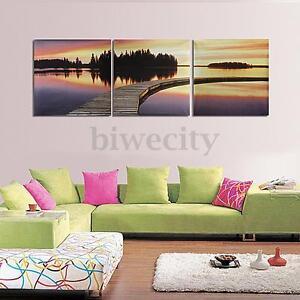 3Pcs-Canvas-Painting-HD-Bridge-Lake-Dusk-Picture-Modern-Wall-Art-Decor-Unframed
