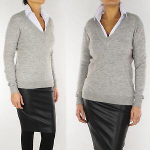 Maglione Donna Lana Scollo a V Pullover Mohair Casual Maglia Morbida Invernale