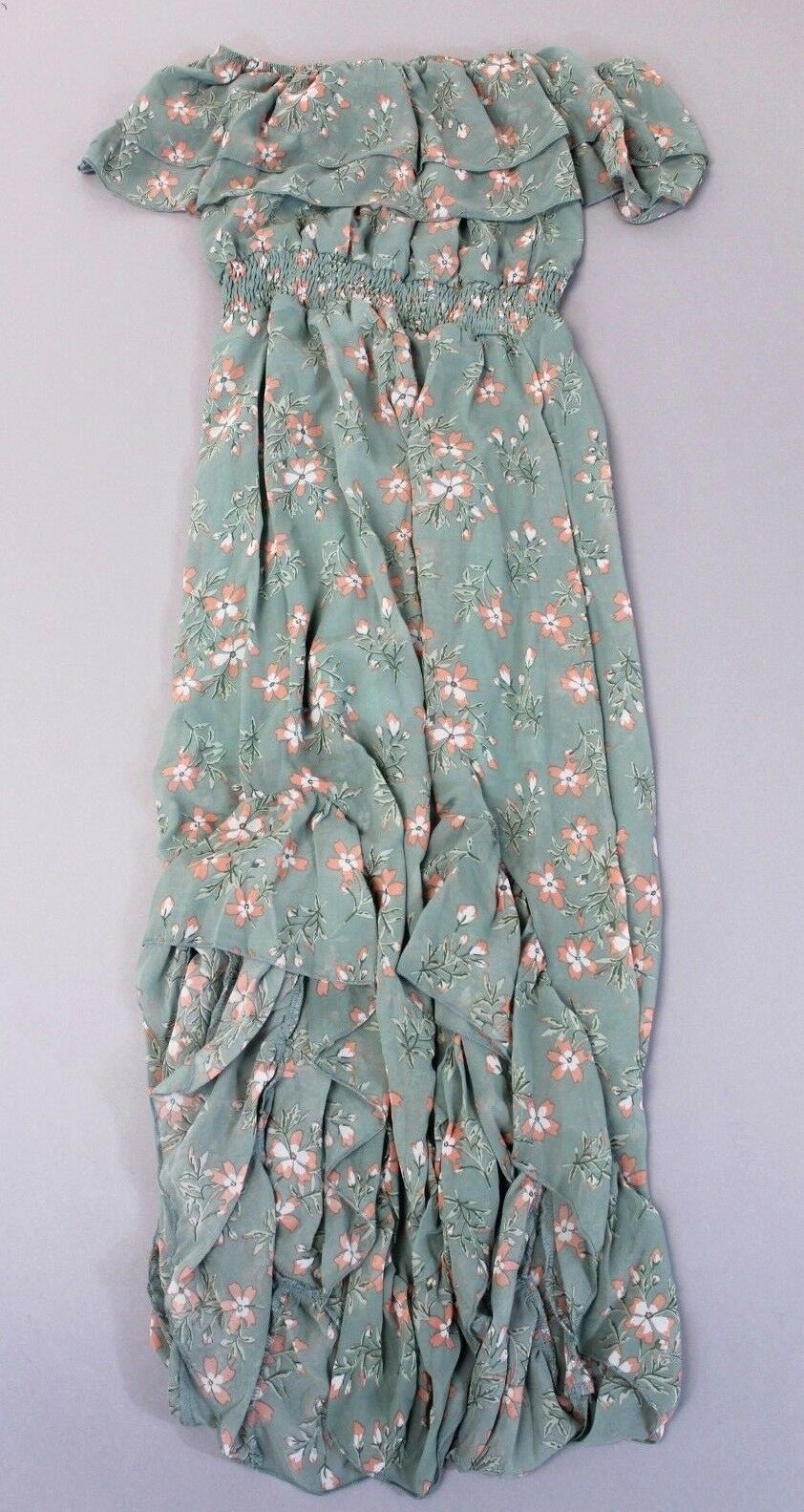 d9892e7ff2249 Nasty Gal Women's Bardot Ruffle Ruffle Ruffle Floral Print Midi Dress BF5  Green Size US 4 NWT 912396