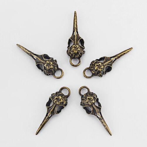 5Pcs Antique Bronze Corbeau Oiseau Crâne Halloween charms pendentifs perles