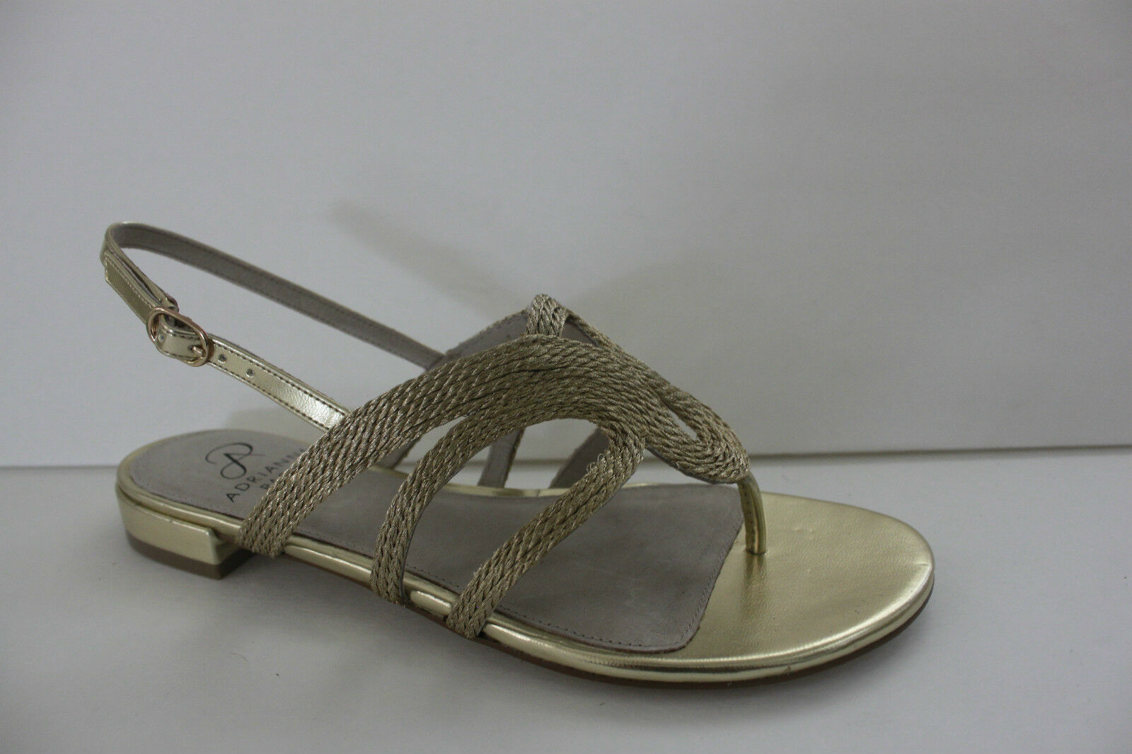 Adrianna Papell para mujeres zapatos M oro Metálico Zapato Sandalia Plana Nuevo en Caja