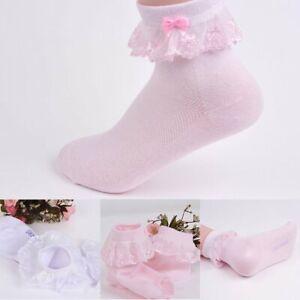 Mignon-bebe-filles-dentelle-Ruffle-Frilly-socquettes-sweet-princess-Coton-Court-Chaussettes