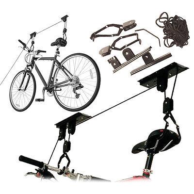 NEW BIKE LIFT RACK HANGER STORAGE STORE HOIST BICYCLE CYCLE PULLEY GARAGE