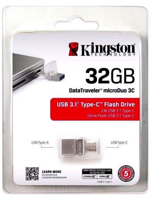 32GB USB 3.1 Type C Kinston Flash Memory Pen Drive microDUO3C DTDUO3C//32G