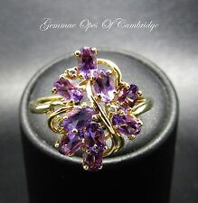 9ct Gold Amethyst and Diamond Cluster Ring Size U 3.1g