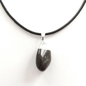 THIN-BLACK-SMOOTH-REAL-LEATHER-CHOKER-NECKLACE-SILVER-PLATED-BLACK-ONYX-PENDANT