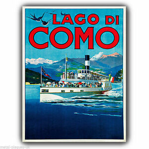 METAL-SIGN-WALL-PLAQUE-LAKE-COMO-ITALY-Vintage-Adver-poster-art-print-picture