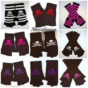 Striped-Stripey-Long-Magic-Skull-One-Size-Fingerless-Gloves-Emo-Gothic-Punk