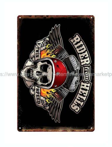 replica retro signs skull skeleton biker motocycle metal tin sign