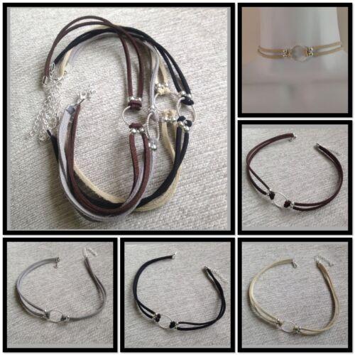 Choker Necklace hippy trendy boho Gothic Retro Black suede leather black cord
