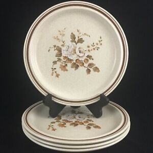 Set-of-4-VTG-Dinner-Plates-10-1-4-034-by-Royal-Doulton-Ravel-Brown-LS1037-England