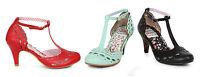 Ellie Shoes Raine 3 Low Heel T Strap Buckle Vintage Retro 50's Bettie Paige