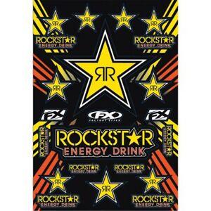 FACTORY EFFEX SPONSOR STICKER DECAL SHEET ROCKSTAR ENERGY DRINK KIT YELLOW
