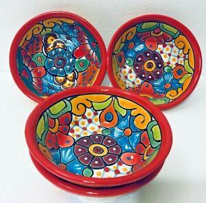 Mexican Talavera Pottery Bowl Set Of 4 Folk Art Soup Salad Cereal 6 5 Ebay