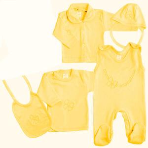 Baby Kleidungsset, Erstlingspaket<wbr/>, Geschenkset, 5-tlg. Schleife Gelb