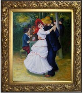 Framed, Pierre Renoir Dance at Bougival Repro, Hand Painted Oil Painting 20x24in