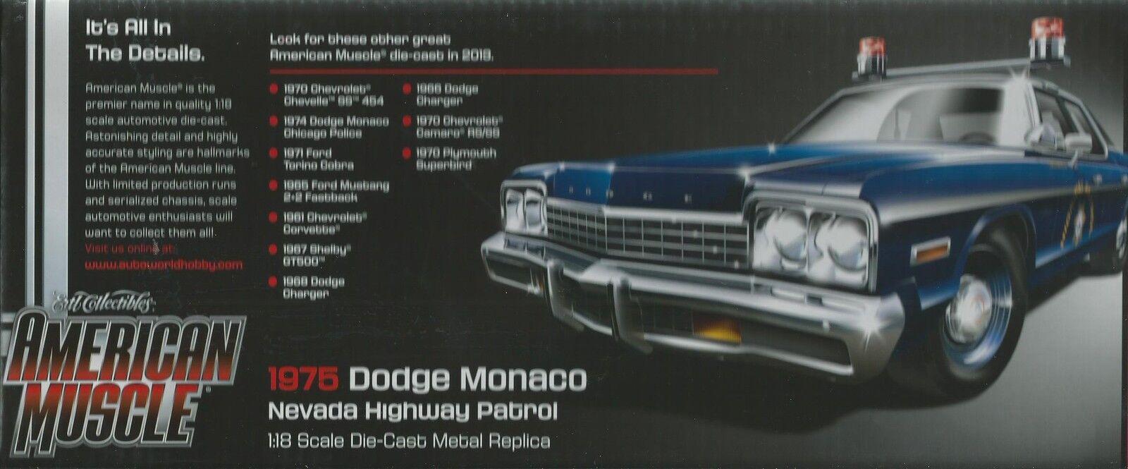 ERTL AMERICAN MUSCLE AUTO WORLD 1 18 DODGE MONACO NEVADA HIGHWAY PATROL ART 1009