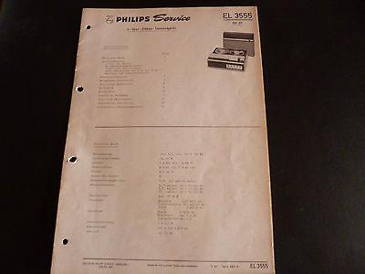 Tv, Video & Audio Original Service Manual Philips Tonbandgerät El 3555
