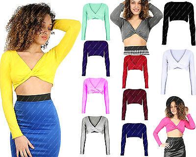 Women Twisted Long Sleeve Crop Top Ladie Wrap Plunge V Neck Twist Tee T shirt