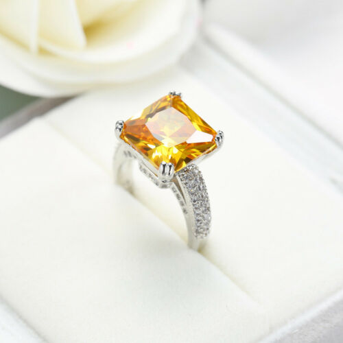 Énorme Square Cut 15 mm NATURAL GOLDEN Citrine gemstone silver woman ring Taille 6-10