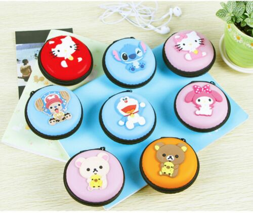 US Cartoon Cute Hard Earphone Earbuds Case Storage Coin Bag SD Card holder Round