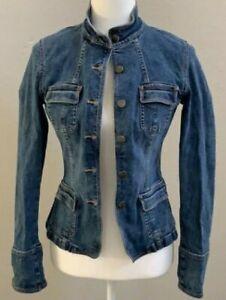 EUC A/X ARMANI EXCHANGE vintage mandarin collar military mock denim jacket szM