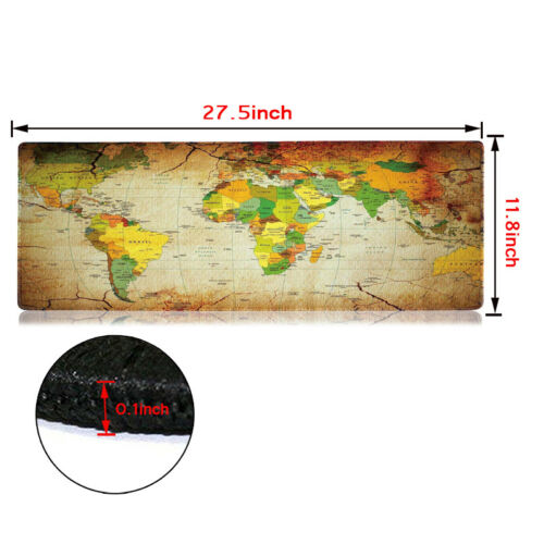 Large XXL Size Anti-Slip World Map Speed Game Mouse Pad Gaming Mat for Laptop PC