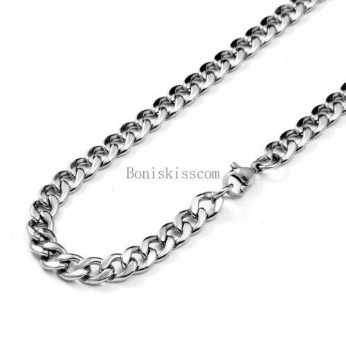 5.5mm Silver Polished Stainless Steel Curb Link Chain Necklace 20 Inch for Men