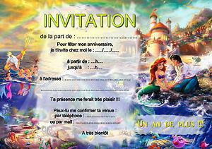 5 12 Ou 14 Cartes Invitation Anniversaire Petite Sirene Ref 423 Ebay