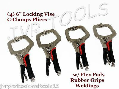 "(4) 6"" LOCKING VISE C CLAMP PLIERS WITH FLEX PADS RUBBER GRIPS WELDING"