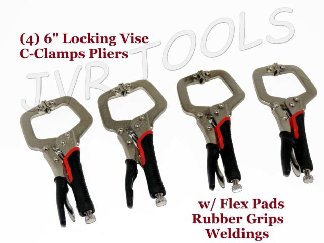 """(4) 6"""" LOCKING VISE C CLAMP PLIERS WITH FLEX PADS RUBBER GRIPS WELDING"""
