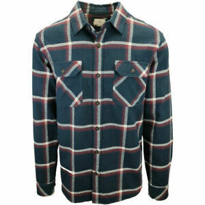 Rip-Curl-Men-039-s-Navy-Red-White-Plaid-L-S-Flannel-Shirt-S01