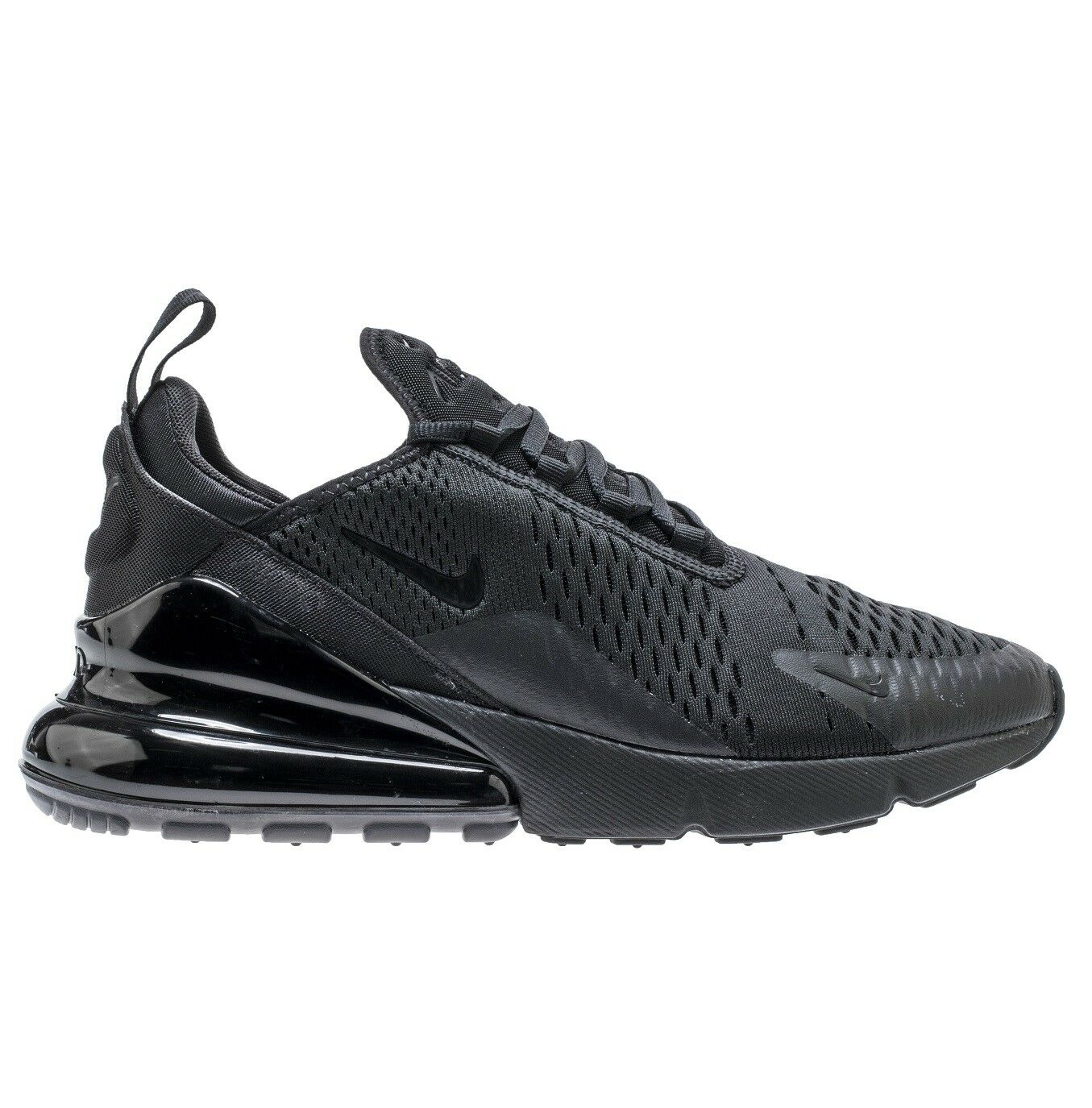 Nike Air Max 270 Mens AH8050-005 Triple Black Mesh Knit Knit Knit Running shoes Size 8 026ac6