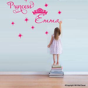 Customise-Princess-Name-tiara-amp-stars-Removable-wall-sticker-for-kids-Nursery