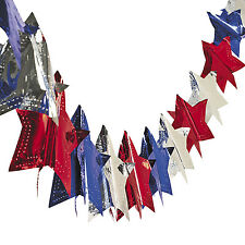 9FT Star Garland BANNER  RED WHITE & BLUE 4TH OF JULY MEMORIAL DAY PATRIOTIC