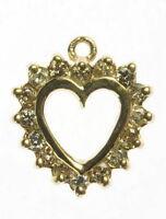 Ladies 10K Solid Yellow Gold 1/3 Ct Diamond Heart Anniversary Estate Pendant