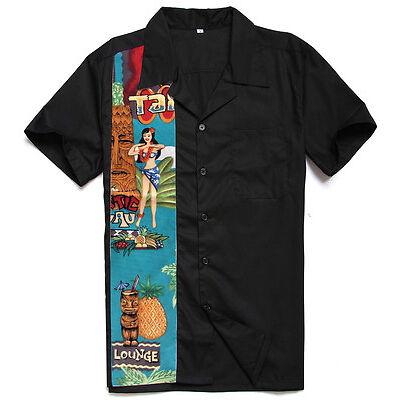 Mens Retro Bowling Shirts Rockabilly Clothing Plus Size Work Shirts
