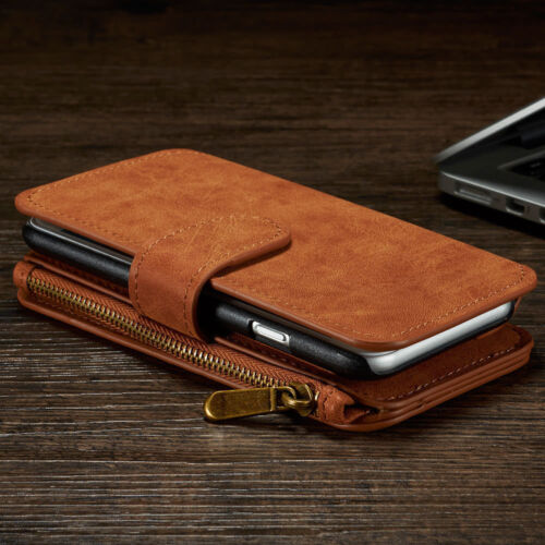 All in One Zip Wallet Coin Purse Flip Leather Magnet Case Cover F iPhone X 8 7 6