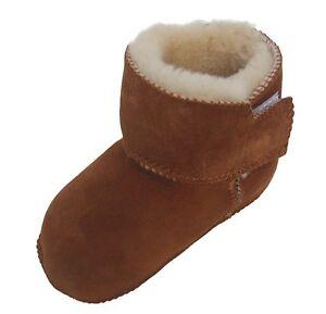 warme Baby Lammfell Boots mit Klettverschluss camel, Größe 16-23