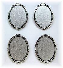4 Antiqued Silvertone ROMANTIC 40mm x 30mm CAMEO Pin Brooch Frames Settings