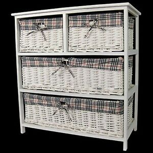 Image Is Loading SHABBY CHIC CHEST OF 4 DRAWERS WICKER BASKET