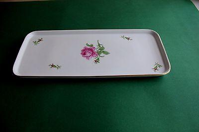 Fürstenberg Rote Rose Kuchenplatte für Königskuchen  32 mal 14 cm